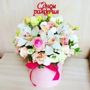 Фото корзинка с цветами на День Рождения