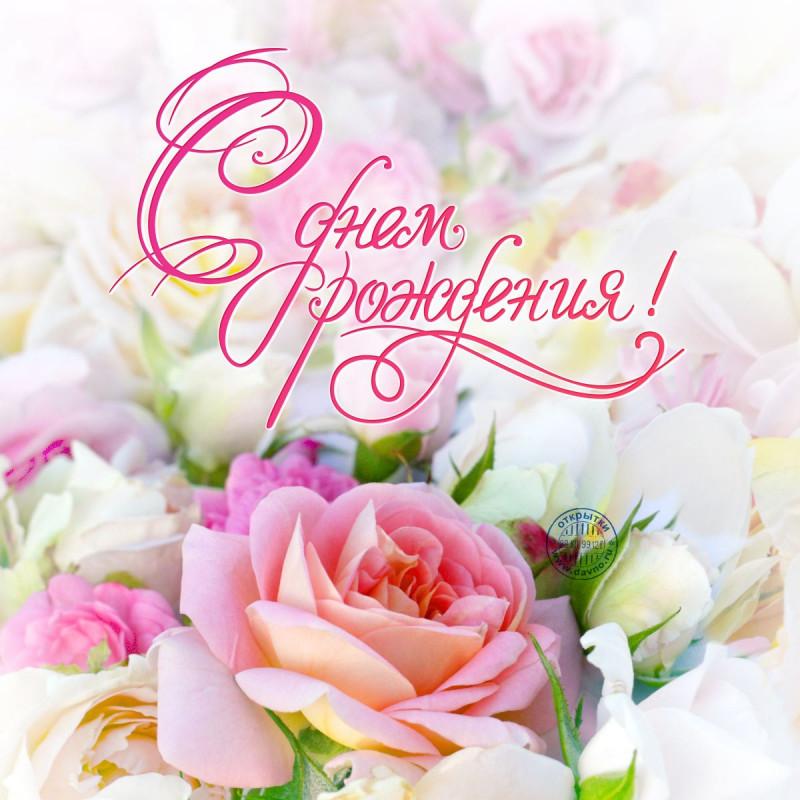Большая открытка на День Рождения с цветами