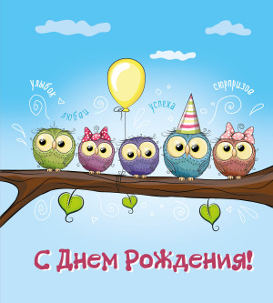 Забавная открытка на День Рождения с совами