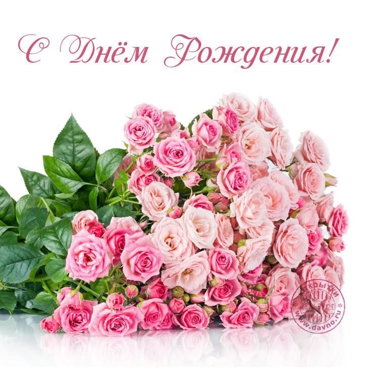 С Днём Рождения в открытке букет нежных роз